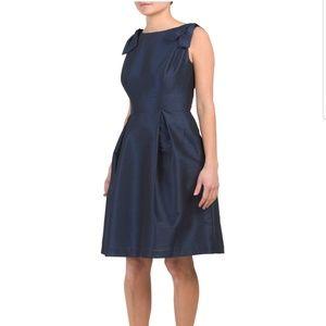 Bateau Neck Bow Shoulder Dupioni Dress